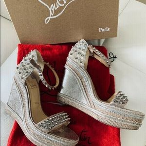 Christian LOUBOUTIN Rose Gold Studs Wedge Sandals